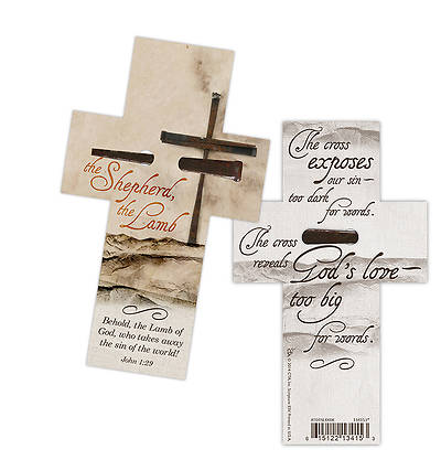 The Shepherd The Lamb Cross-Shaped Bookmark with Rustic Nail, Package of 6