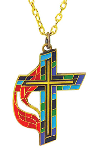 United Methodist Stained Glass Solid Bronze Enamel Inlaid Cross Pendant with 24