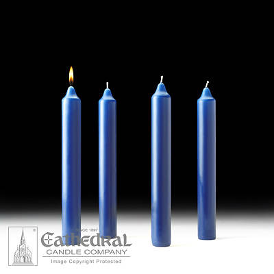 """Picture of Cathedral Advent Candle Set 12"""" X 1-1/2"""" - 4 Sarum Blue"""