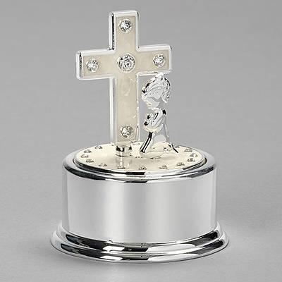 "Picture of Praying Girl & Cross Music Box 5"""