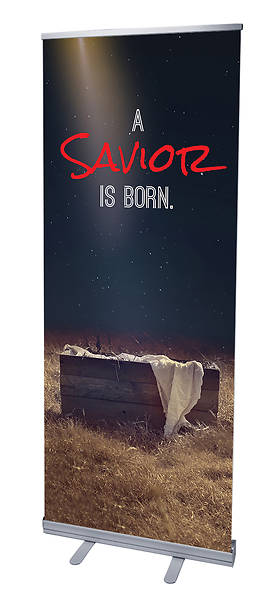 Savior Born Christmas RollUp Banner with Stand