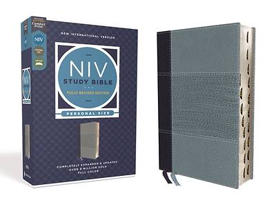 Picture of NIV Study Bible, Fully Revised Edition, Personal Size, Leathersoft, Navy/Blue, Red Letter, Thumb Indexed, Comfort Print