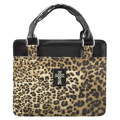 Safari Collection Leopard Print Vinyl Large Black Bible Cover