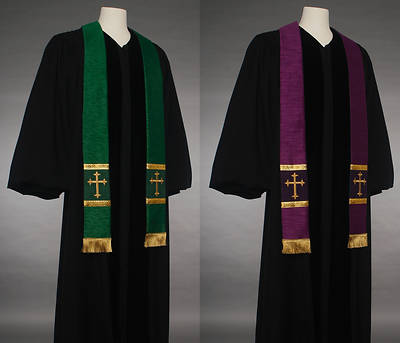Picture of MDS Reversible Green/Purple Latin Cross Stole
