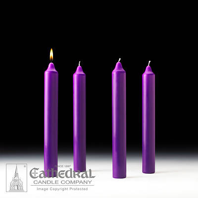 """Picture of Cathedral Advent Candle Set 12"""" X 1-1/2"""" - 4 Purple"""
