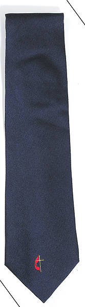 Tie Navy United Methodist Cross and Flame