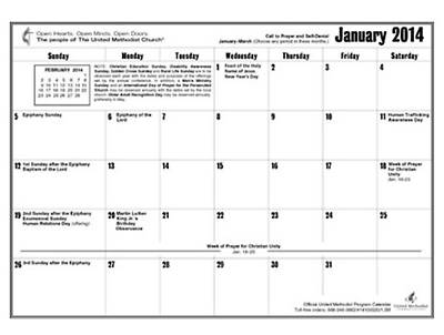 Official United Methodist Program Calendar 2014 Reproducible (11