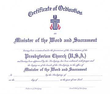 Certificate Ordination Minister of Word