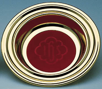 Copper Offering Plate with Red IHS Mat
