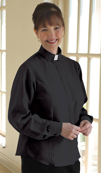 Soft Classic Long Sleeve Clergy Blouse with Tab Collar