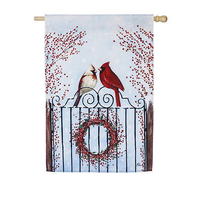 Winter Birds and Berries House Satin Flag