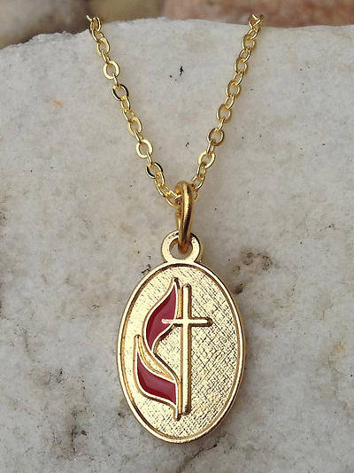 Picture of Gold Oval UM Cross & Flame Necklace