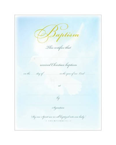 Baptism Certificate Premium Gold Foil Embossed Package of 6