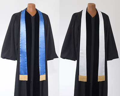 Satin Plain Reversible Blue/White Stole