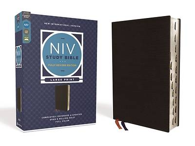 Picture of NIV Study Bible, Fully Revised Edition, Large Print, Bonded Leather, Black, Red Letter, Thumb Indexed, Comfort Print