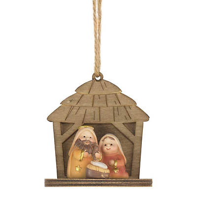 Holy Family in Creche Nativity Ornament