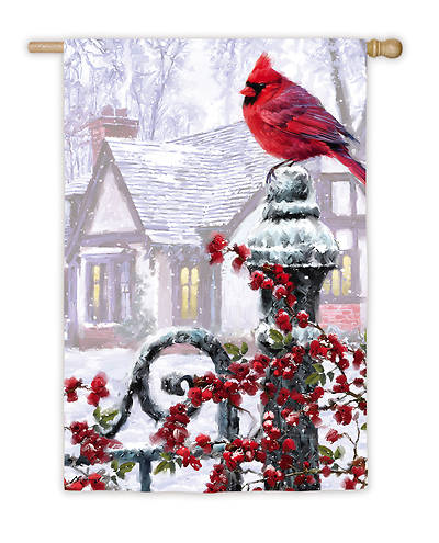 Winter Cardinal House Satin Flag