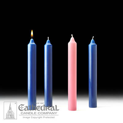 """Picture of Cathedral Advent Candle Set 12"""" X 1-1/2"""" - 3 Sarum Blue, 1 Rose"""
