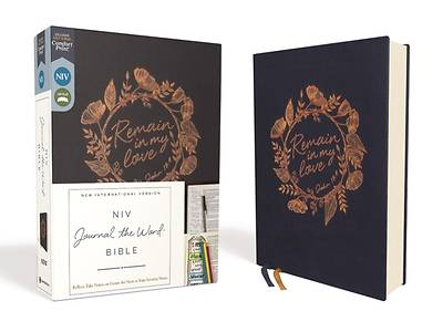 Niv, Journal the Word Bible, Cloth Over Board, Navy, Red Letter Edition, Comfort Print