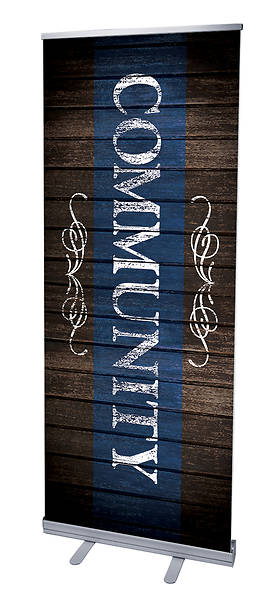 Rustic Charm Community RollUp Banner with Stand