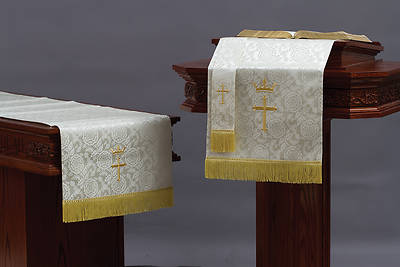 Picture of Abbott Hall TRN White Cross and Crown Three-Piece Parament Set