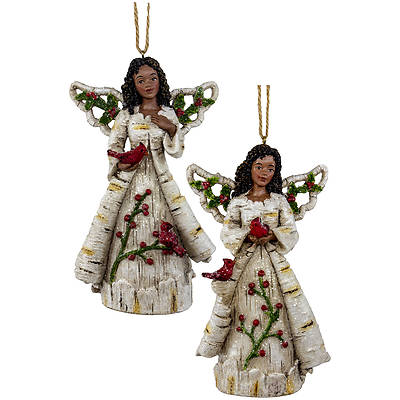 "Picture of Birch Berry African American Angel Ornament 5"" 2 Assorted"