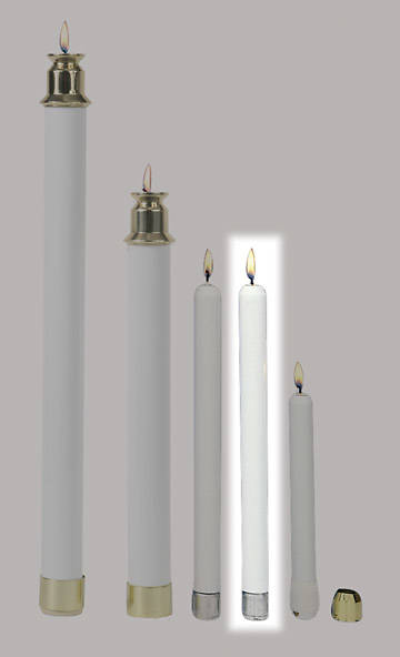 "Candles Tube 10"" White Tapered Pair"