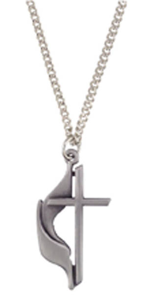 UMC Cross and Flame Pewter Pendant