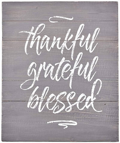 Picture of Thankful Grateful Blessed Wooden Wall Art