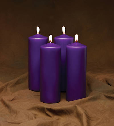 "Advent 9"" x 3"" Pillar Candles-- 4 Purple (Set of 4)"