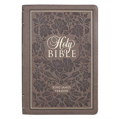 Picture of KJV Bible Thinline Brown with Flowers