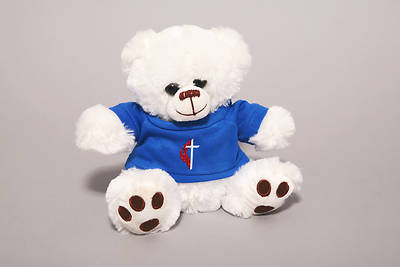 UMC Plush White Teddy Bear with Cross & Flame Tee