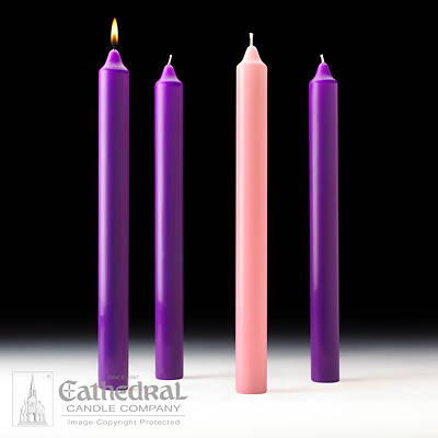 """Picture of Cathedral Advent Candle Set 16"""" X 1-1/2"""" - 3 Purple, 1 Rose"""