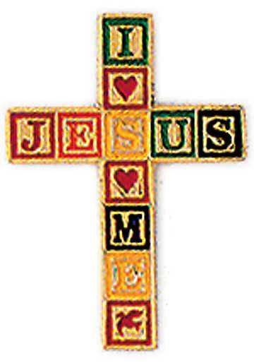 Cross I Love Jesus Pin