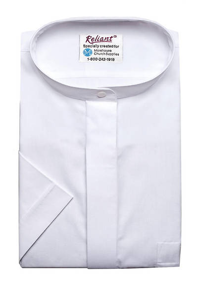 Reliant Short Sleeve Clergy Blouse with Neckband Collar White - 12