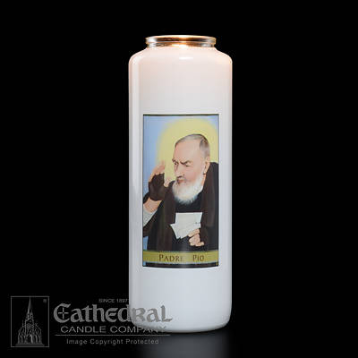 Picture of Padre Pio 6-Day Glass Prayer Candle