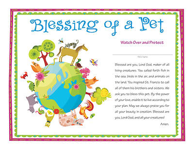 All God's Creatures Blessing of a Pet Certificate - Download