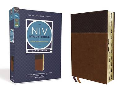 Picture of NIV Study Bible, Fully Revised Edition, Large Print, Leathersoft, Brown, Red Letter, Thumb Indexed, Comfort Print