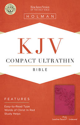 Picture of KJV Compact Ultrathin Bible, Pink Leathertouch, Indexed