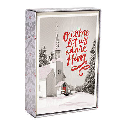Black and White Church Christmas Cards Box of 18