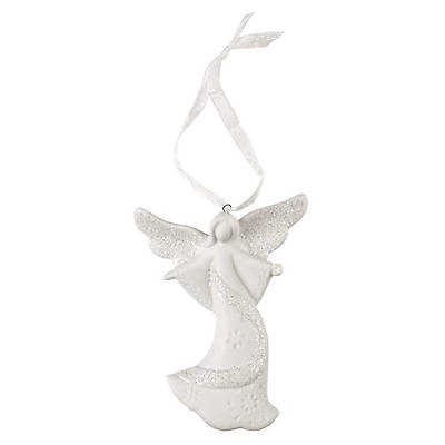 White Porcelain Glitter Angel - Open Arms Ornament