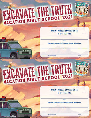Picture of Vacation Bible School VBS 2021 Destination Dig Unearthing the Truth About Jesus Certificates Of Completion 50 Certificates