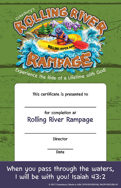 Vacation Bible School (VBS) 2018 Rolling River Rampage Student Certificates (Pkg of 48)