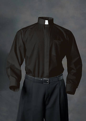 Abbey Long Sleeve Clergy Shirt with Tab Collar BLACK - 19.5 - 34