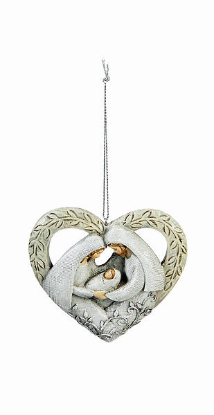Picture of Hand Painted Holy Family Heart Ornament