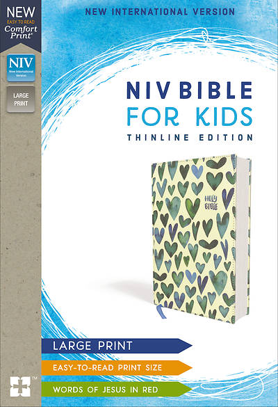 Picture of NIV Bible for Kids, Large Print, Cloth over Board, Turquoise Hearts, Red Letter Edition, Comfort Print: Thinline Edition