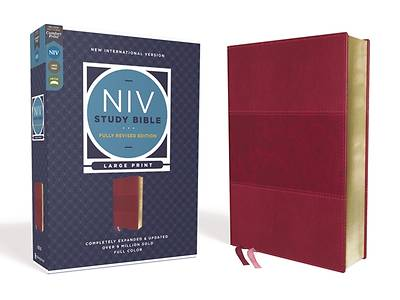 Picture of NIV Study Bible, Fully Revised Edition, Large Print, Leathersoft, Burgundy, Red Letter, Comfort Print