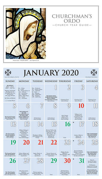 Picture of Ashby Churchman's Ordo Kalendar 2020