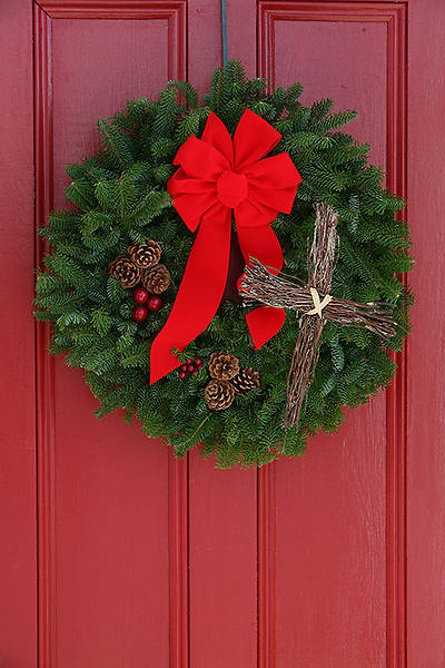 LIVE Balsam Wreath with Cross 36""
