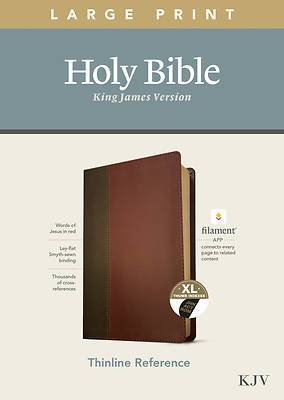 Picture of KJV Large Print Thinline Reference Bible, Filament Enabled Edition (Red Letter, Leatherlike, Brown/Mahogany, Indexed)